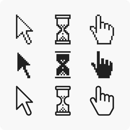 help section: Vector illustration hand cursor hourglass. Web elements. Illustration