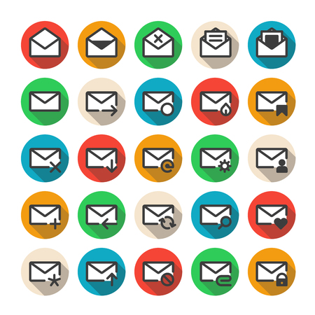 Set of vector icons of universal e-mail.