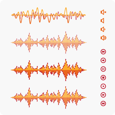sonic: Equalizer Vector Sound Waveforms. Musical pulse icons and buttons. Illustration