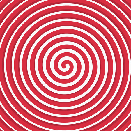 hypnotize: Vector red spiral background. Vector illustration of a rotating lines forming circles.