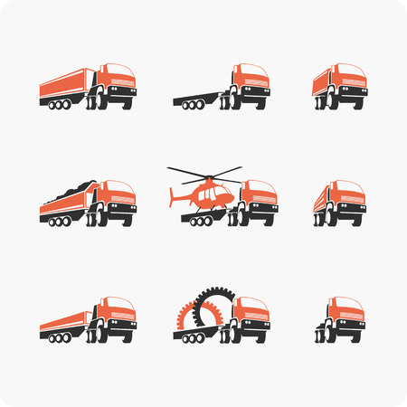 hauler: Set of vector icons trucks of different shapes and sizes. Trucks, construction equipment.