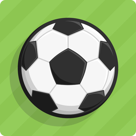 Vector illustration of a soccer ball on a green lawn. Stock Illustratie