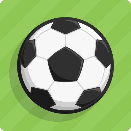 Vector illustratie van een voetbal op een groen gazon. Vector Illustratie