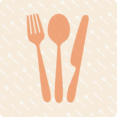 rt: Vector illustration of fork, knife and spoon on a kitchen background. Illustration
