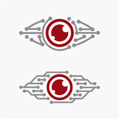 Vector illustration of the eye . Robotic Eye . logo Shiblon for video-supervision .