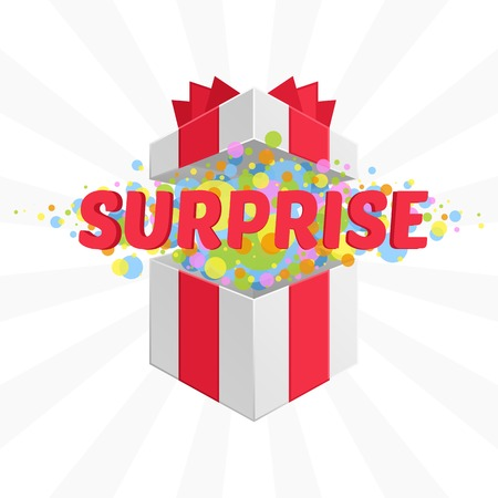 surprise box: Open gift box and with red bow and ribbon vector background. Surprise message. Illustration