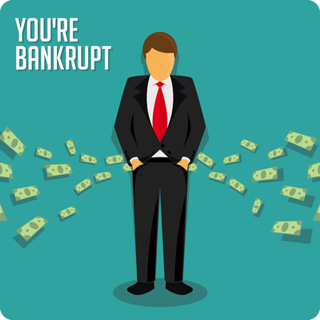 empty pocket: Person bankrupt. Ruin vector illustration. Businessman has no money. Illustration
