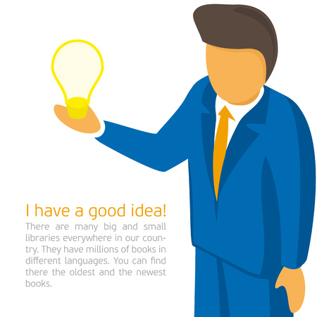 canvass: Vector illustrations with space for text - businessman tells a brilliant idea. Male businessman discusses his idea.