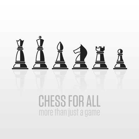 chess set: Vector chess pieces. Set of black and white chess pieces flat.