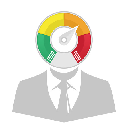 score: Vector infographics of displaying the Credit Score Gauge description. Credit counter.