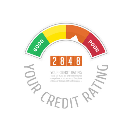 credit report: Credit Score Gauge. Vector illustrations manometer on white background. Vector EPS 10.