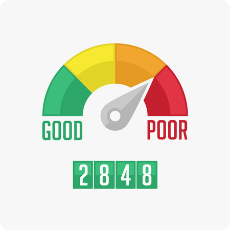 financial performance: Credit Score Gauge. Vector illustrations manometer on white background. Vector EPS 10.