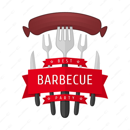 que: Barbecue party logo. Vector illustrations BBQ , fried sausage on a fork . Accessories BBQ , in the form of the logo for your posters, promotional announcements and web design. Illustration