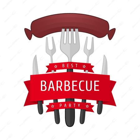 logo de comida: logotipo de partido de la barbacoa. Vector ilustraciones de barbacoa, salchicha frita en un tenedor. Accesorios de barbacoa, en la forma del logo para carteles, anuncios promocionales y diseño de páginas web. Vectores