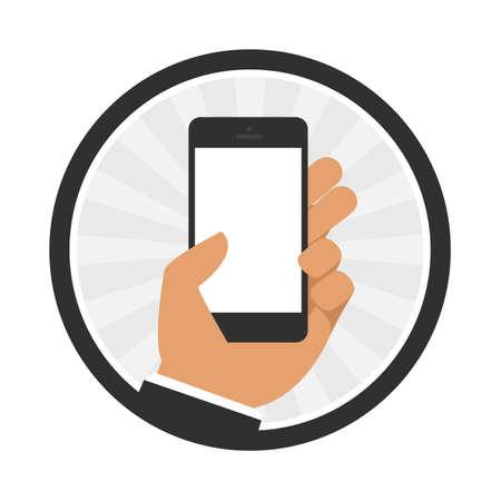smart phone hand: Vector illustrations hand holding smart phone on a white background. Flat design. Illustration