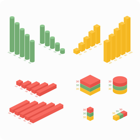 bar chart: Isometric 3d vector charts. Pie chart and donut chart, layers graphs and pyramid diagram. Infographic presentation, design data finance. Vector illustration. Illustration