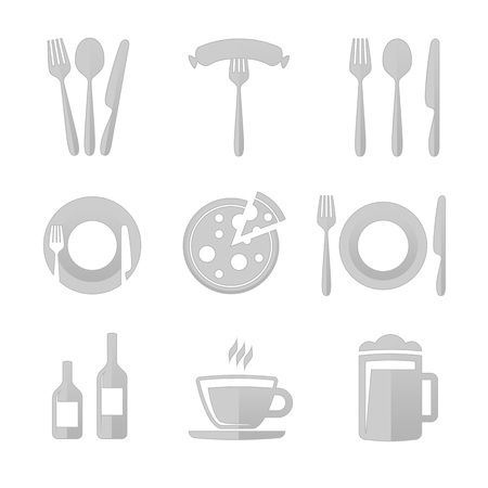 further: Set of vector icons restaurant , cafe, bar. Vector illustrations of kitchen utensils. Templates spoons, forks , plates for further use in your work. Illustration
