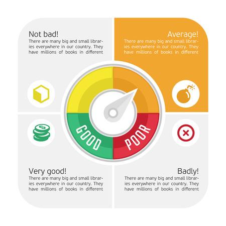 Vector Infografiken, die Kredit-Score Spur Beschreibung anzeigen zu lassen. Kreditzähler.