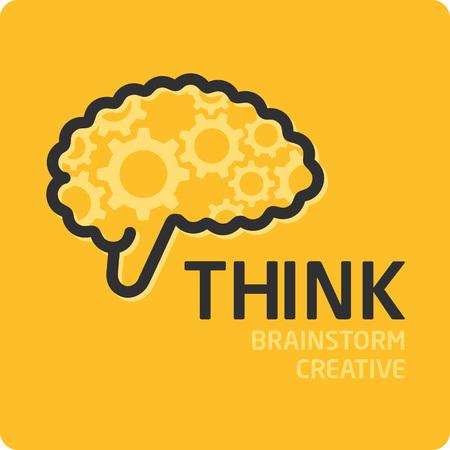generate: Brain Logo design vector template. Generate idea. Brainstorming logotype concept icon.