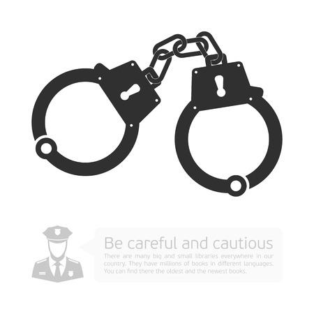 derecho penal: esposas icono. infograf�a vector con una imagen de esposas, polic�a y Desarrollo de di�logo con la nube. Vectores