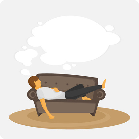 snore: Man sleep on sofa. The person dreams lying on a sofa. Idler. Vector illyustation.