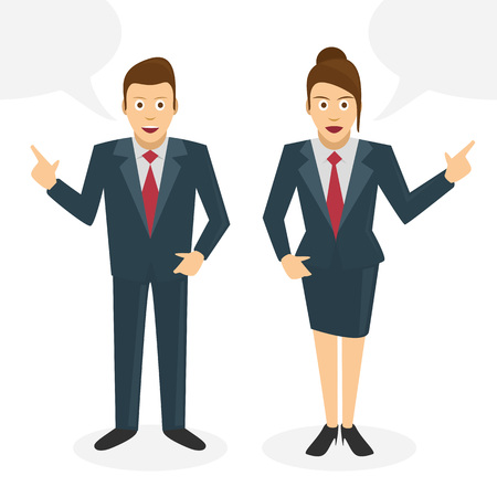 canvass: Two businessmen talk about their ideas. People in business suits Development dialog with clouds on a white background. Vector illustrations.