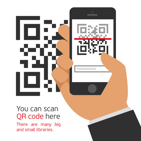 Vector illustration capture QR code on mobile phone. Digital technology, information barcode, symbol electronic scan.