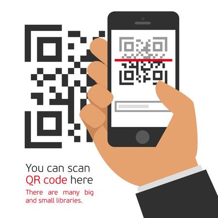 Vector illustratie vangen QR-code op de mobiele telefoon. Digitale technologie, informatie streepjescode, symbool elektronische scan.