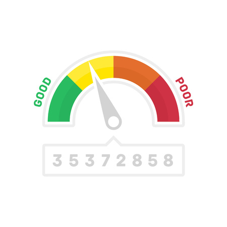 Credit Score Gauge. Vector illustrations manometer on white background. Vector EPS 10.