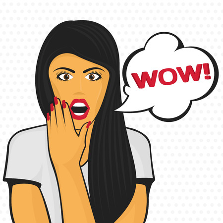 WOW bubble pop art surprised beautiful woman face with open mouth. Vector illustration.