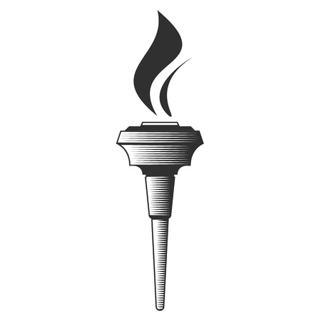 Vector icons Torch black and white. Hot flame, power flaming, heat and liberty, victory success, glow triumph illustration.