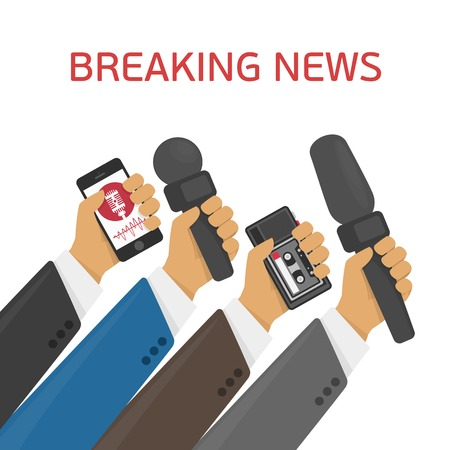 news: Breaking news. Vector live report concept, live news, hands of journalists with microphones and tape recorders.