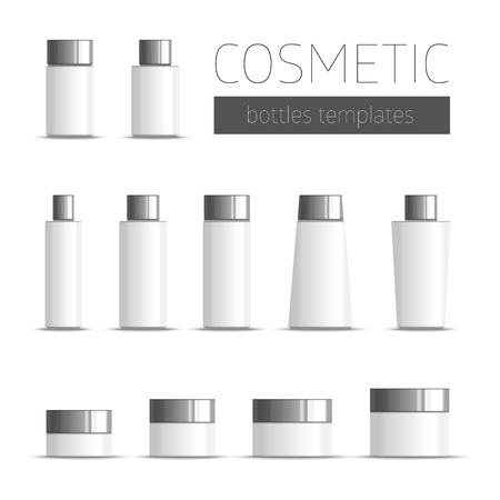 empty box: Realistic Tubes And Package. Packing White Cosmetics Or Medicines Isolated On White Background. Template package in the form of bottles, tubes, jars. Illustration