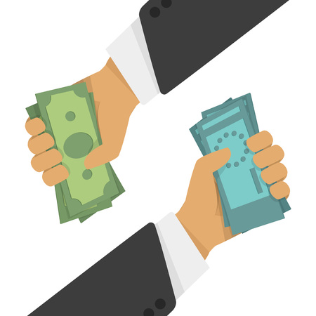 Currency exchange, money exchange. Stock Exchange in a flat style. Foreign exchange transactions in cash from hand to hand. Illustration