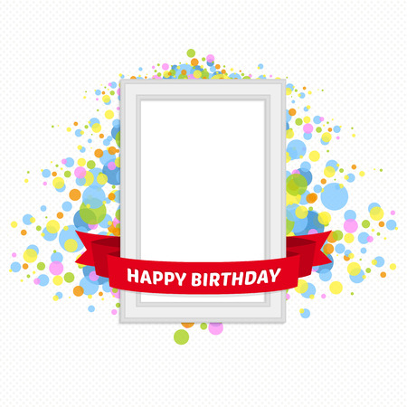 Vector template vintage frame for the birthday greetings. Festive frame with ribbon on a beautiful background. Illustration