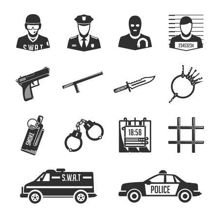 criminals: Set of vector icons of police and criminals. Vector security image and offenders for use in your design projects.