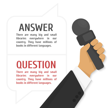 rookie: Vector illustration of interview. The hand of the journalist holds a microphone against dialog boxes with the text.