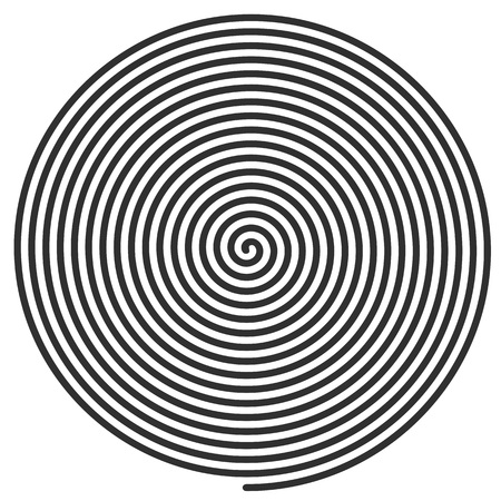 hypnotism: Vector illustration of a large flat spiral. black flat spiral on a white background for use in your design projects. Illustration