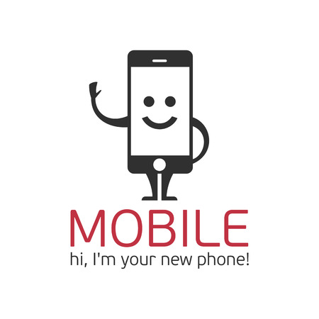 Logo mobile phone. Logo template character mobile phone in a flat style.