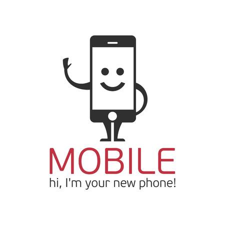 téléphone mobile Logo. Logo template caractère de téléphone mobile dans un style plat.
