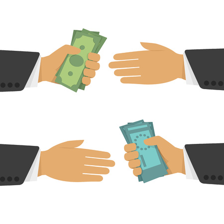 money exchange: Currency exchange, money exchange. Stock Exchange in a flat style. Foreign exchange transactions in cash from hand to hand. Illustration
