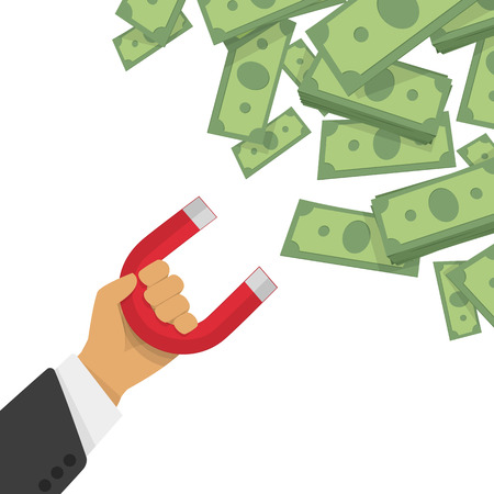 Magnet attracts money. Vector illustration in a flat style red magnet in hand businessman draws a profit, the money. The increase in sales, business development.
