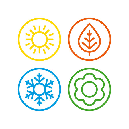 winter season: A set of colorful icons of seasons. The seasons - winter, spring, summer and autumn.