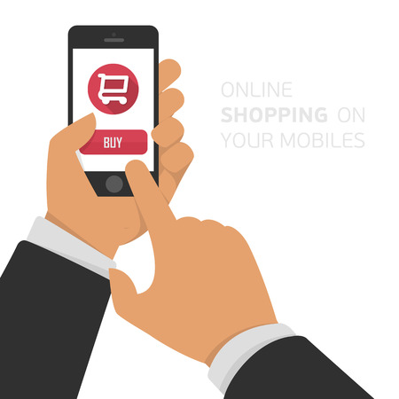 Mobile shopping button. Vector illustration of online shopping via mobile phone, mobile laying. Online shopping through a mobile phone. Stock Illustratie