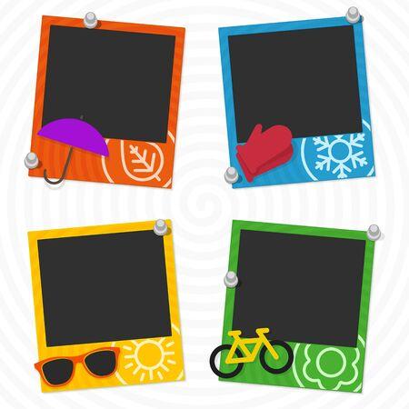 Decoratieve sjabloon voor photo frame van uw foto's. Frames seizoenen, winter, lente, zomer en herfst. Hipster stijl.