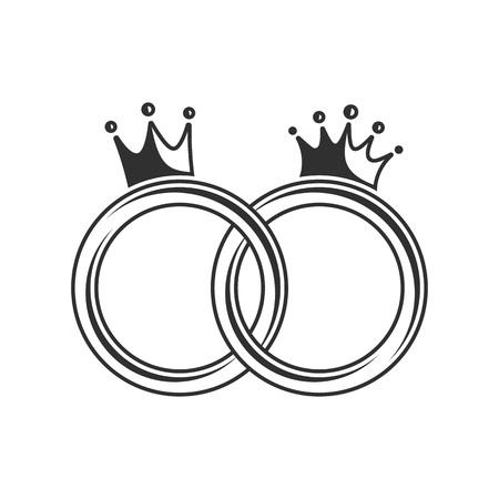 Anillos de bodas en un fondo blanco. Ilustración del vector de los anillos de boda con una corona real cerrada.
