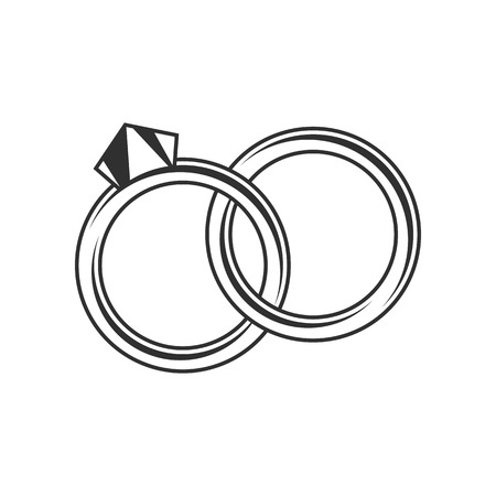 fiance: Wedding rings on a white background. Stock closed wedding rings, one with diamonds.