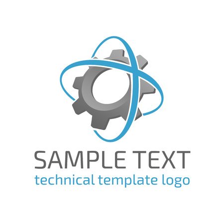 Vector template logo gear. Icon of high-tech equipment. The sign of the future of nanotechnology.