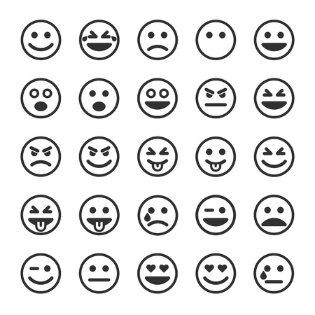 Set of outline emoticons, emoji isolated on white background, vector illustration. 向量圖像
