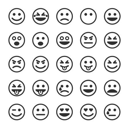 Set of outline emoticons, emoji isolated on white background, vector illustration. Stock Illustratie